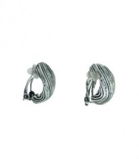 Antiek oud zilverkleurige metalen oorclips