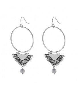 Zilverkleurige oorbellen met hanger en grijze steen