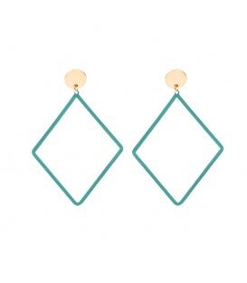 Groene oorbelllen met als hanger een ruitvorm