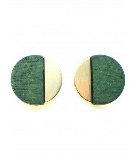 Mooie ronde goudkleurige oorclips met groene houten inleg