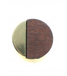 Mooie ronde goudkleurige oorclips met bruine houten inleg