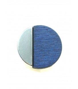 Mooie ronde zilverkleurige oorclips met blauwe houten inleg