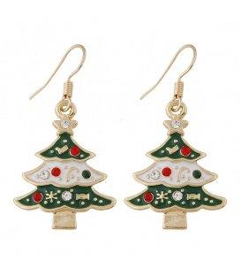 Goudkleurige kerstboom oorbellen met gekleurde strass