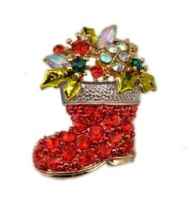 Mooie kerst broche met heldere en rode strass steentjes in de vorm van een laars