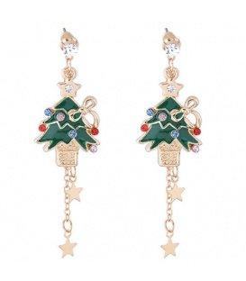 Goudkleurige kerstboom oorbellen met gekleurde strass en sterretjes