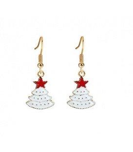 Mooie kerstsieraden oorbellen in de vorm van een witte kerstboom met rode ster