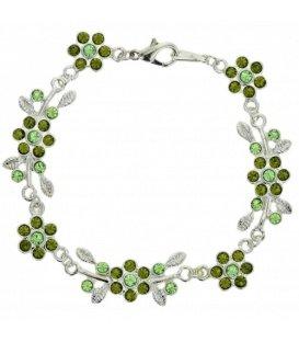 Zilverkleurige schakel armband met groene strass steentjes