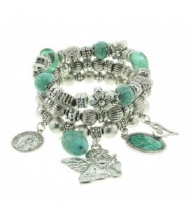 Mooie zilverkleurige armband met blauwgroene kralen en bedels