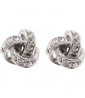 Zilverkleurige oorknopjes in de vorm van een knoop met strass steentjes