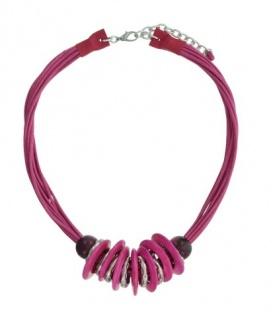 Fuhcia roze korte koord halsketting met ronde elementen