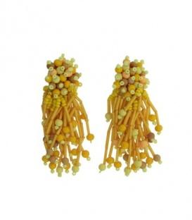 Geel gekleurde clip oorbellen met sliertjes