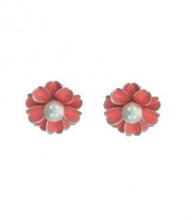 Rood roze bloem clip oorbel met parel