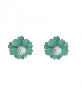 Mint groene clip oorbellen met parel