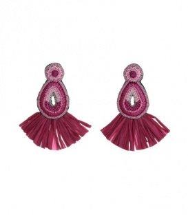 Fuchia roze oorbellen met druppelvormig hanger