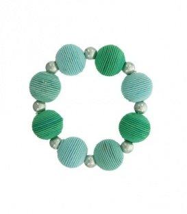 Mint groene armband met metalen kralen en kralen van koord