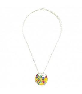 Zilverkleurige halsketting met gekleurde ronde hanger