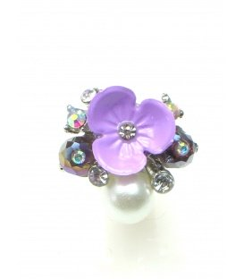 Lila oorclips met bloem en parel