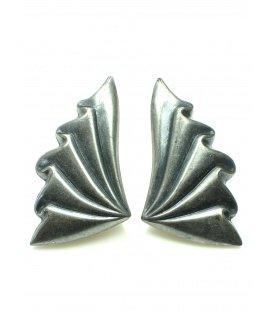 Antraciet kleurige metalen oorclips
