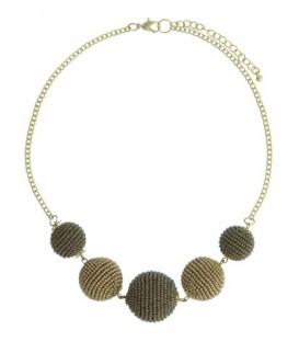 Goudkleurige halsketting met 5 bruine ballen